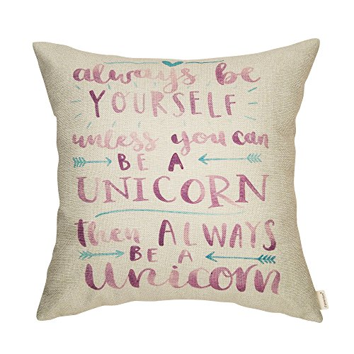 Fahrendom Always Be Yourself Unless You Can Be a Unicorn Inspirational Quote Cotton Linen Home Decorative Throw Pillow Case Cushion Cover with Words for Sofa Couch 18 x 18 in