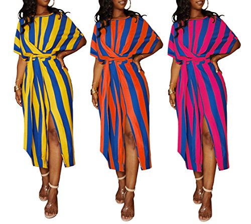 Long Women's Belted Short DingAng Maxi Orange Loose Dress Striped Dress Casual Summer Sleeve RXxqZAp