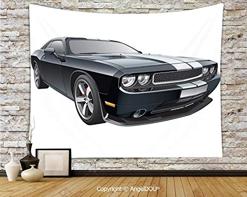 AngelDOU Cars New Nordic Decorative Tapestry Background Tarpaulin Black Modern Pony Car with White Racing Stripes Coupe Motorized Sport Dragster Cloth Hanging Painting.W70.8xL59(inch)