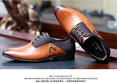 Men Pointed Toe Business Dress Formal Leather Shoes Flat Oxfords Loafers Slip On by Gaorui (Image #4)