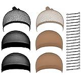 Lictin Pack of 6 Black Wig Net Cap Mesh Wig Cap Black Net Wig Cap with 20 Hair Claps