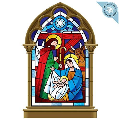 Stained Glass Nativity (Christmas Window Clings - Nativity Scene Religious Christmas Window Decorations - Reusable and Non-Adhesive Christmas Window Stickers - Holiday Window and Door Decor Decals -)