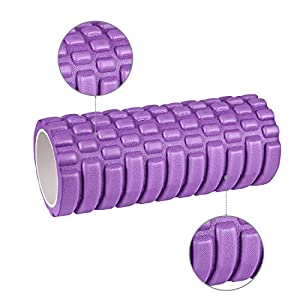 Foam Roller Massage 2 in 1 Yoga Roller, HiHiLL Fitness Roller 2 Different Zones Trigger Point Self-Massage Roller Exercises Purple (YG-S1)