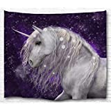 KLOLKUTTA Unicorn Purple Tapestry Wall Hanging, Fairy Tale Theme Enchanted Picture Art Printed Fabric Wall Hanging for Bedroom Living Room Dorm Art Decor Sets (Snowflakes Unicorn Purple, 80 X 60 Inch)