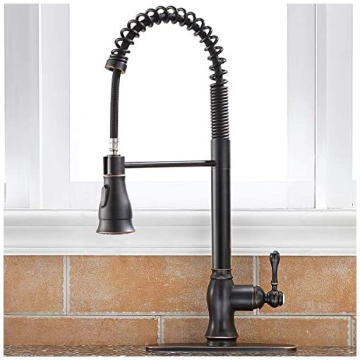 Farmhouse Kitchen SHACO Antique Single Handle Pull Down Sprayer Oil Rubbed Bronze Kitchen Faucet, Kitchen Faucet Bronze with Deck Plate farmhouse sink faucets