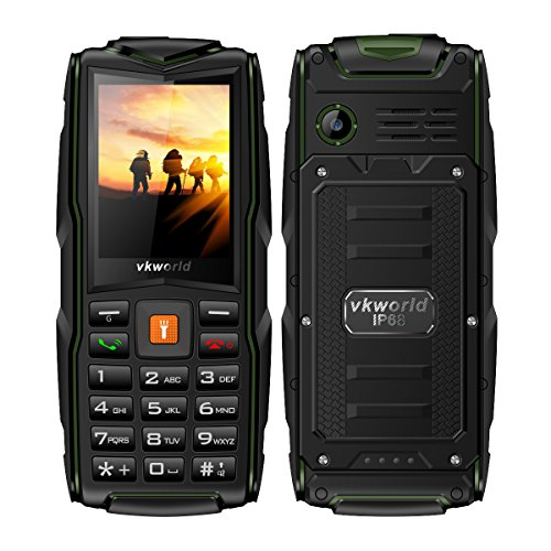 Rugged Tough Unlocked Cell Phone 3000mAh Battery Waterproof Shockproof and Dustproof Phone VKworld New Stone V3(black/green)
