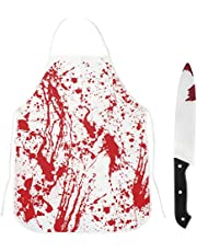 Halloween Scary Apron, Halloween Fancy Dress Bloody Apron with 1 Pieces Plastic Bloody Knife Oxford Cloth Horror Cooking Apron Halloween Costumes for Adults