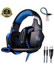 ENVEL Gaming Headset, Professional Bass Stereo Noise Isolation Over-ear [ One Key Mute ] Headset [ with Mic/LED Light/HiFi Driver ] for PC PS4 Pro Xbox One S [ 3.5mm & USB port with Headset Adapter ]