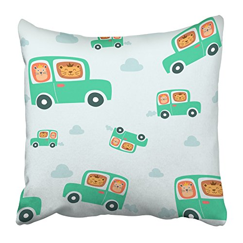 - Emvency Throw Pillow Covers Cases Decorative 16x16 Inch Cute Smiling Happy Lions Driving Car King the Jungle Awesome Bag Lunchbox Two Sides Print Pillowcase Case Cushion Cover