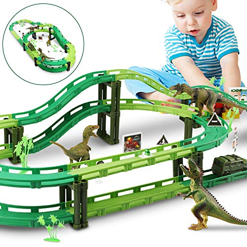 Dinosaur Race Track, Car Race Track Train Tracks Set with 1 Car and 3 Dinosaurs Toys for Boys Toddlers Kids Game Gifts Playset