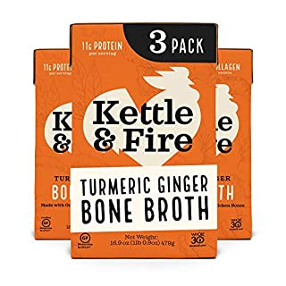 Turmeric Ginger Chicken Bone Broth by Kettle and Fire, Pack of 3, Keto Diet, Paleo Friendly, Whole 30 Approved, Gluten Free, with Collagen, 11g of protein, 16.9 fl oz