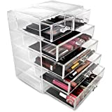 Sorbus Cosmetics Makeup And Jewelry Big Storage Case Display   Stylish  Vanity, Bathroom Case (4 Large, 2 Small Drawers, Clear)