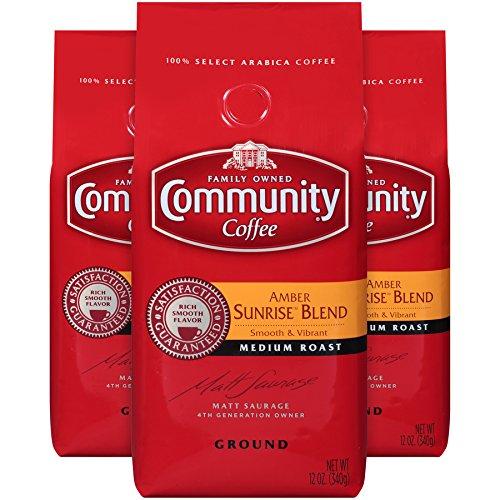 Community Coffee Amber Sunrise Blend Medium Roast Premium Ground 12 Oz Bag (3 Pack), Medium Body Smooth Vibrant Taste, 100% Select Arabica Coffee Beans