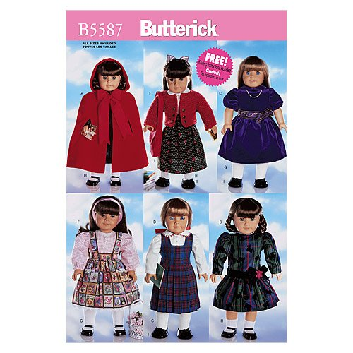 """Butterick B5587 18"""" (46cm) Doll Clothes, One Size Only"""