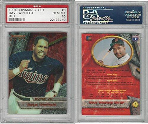 1994 Bowman Best Baseball, 6 Dave Winfield HOF, Twins, PSA 10 Gem