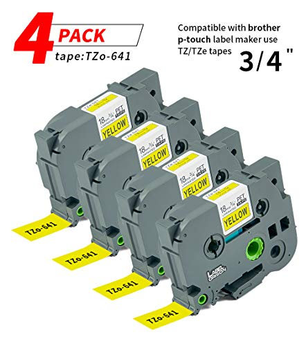 P Touch Label 4Pack TZ641 TZo641 TZe Labeling Tape Cartridge Label Orison Black on Yellow Compatible with Brother Label Maker Tape 18mm 3/4 Inches 26.2ft Cassette Refills
