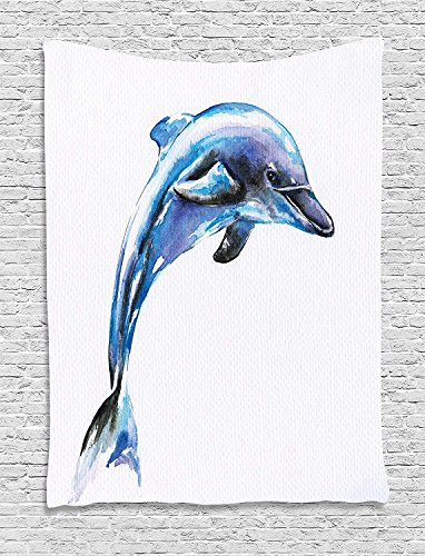 XHFITCLtd Dolphin Tapestry, Watercolor Ocean Mammal Hand Drawn Aquatic Life Environment Friendly Animal, Wall Hanging for Bedroom Living Room Dorm, 60 W X 80 L Inches, Blue Lilac Black by XHFITCLtd