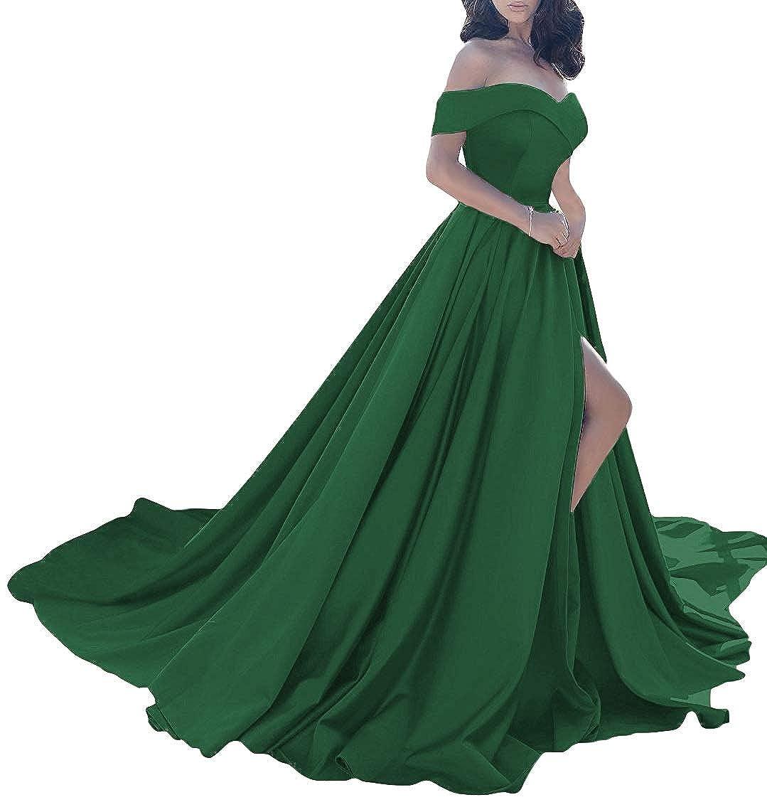 Dark Green MorySong Women Elegant Off The Shoulder Prom Dress Side Split Long Evening Gown