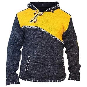 croce con zip scollo SUPER caldo maglione stile maglione, Hippy Boho in lana Felpa con cappuccio