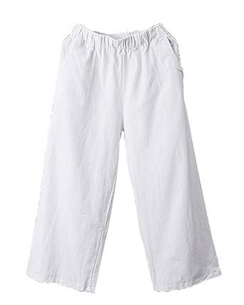Femme Pantalon En Lin Pantacourt Jambe Large Tailles Elastiques Pantalon De  Sport Pantalon Chino Blanc XL a98e5f05eec