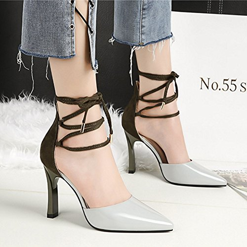 Tacchi Platform Cinghie Hee incrociate Gray Sandali Shoes Scarpe Single Primavera Nero Stiletto Wedding Estate Stitching Grigio donna Party GAOLIXIA da Rosso Colour WwCWqSx8F7