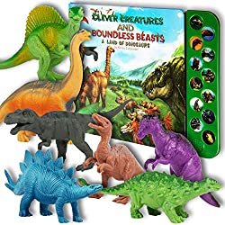 "Li'l Gen Dinosaur Toys for Boys and Girls 3 Years Old & Up – Realistic Looking 7"" Dinosaurs, Pack of 12 Animal Dinosaur Figures with Dinosaur Sound Book (Dinosaur Set with Sound Book)"