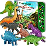 "Li l Gen Dinosaur Toys for Boys and Girls 3 Years Old & Up - Realistic Looking 7"" Dinosaurs, Pack of 12 Animal Dinosaur Figures with Dinosaur Sound Book (Dinosaur Set with Sound Book)"