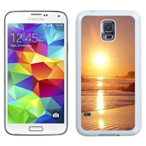 NEW Unique Custom Designed Samsung Galaxy S5 I9600 G900a G900v G900p G900t G900w Phone Case With Sunset Beach Sea Reflection_White Phone Case
