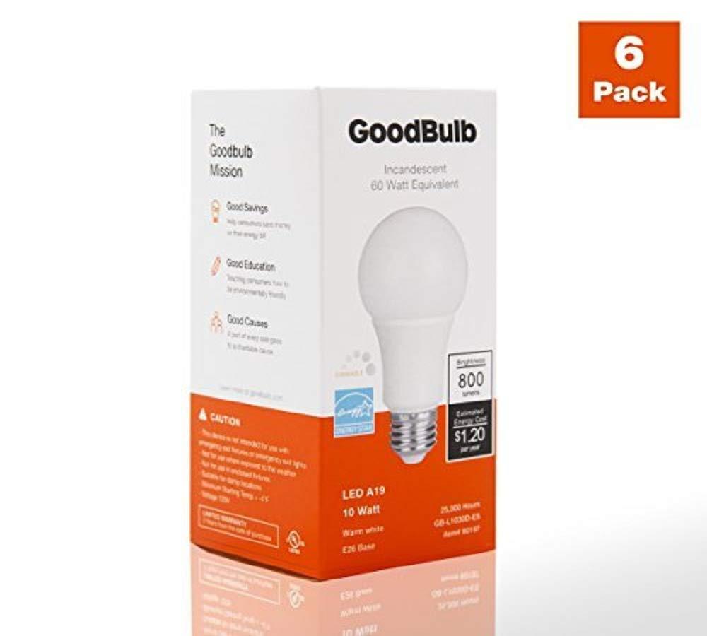 E26 Base GoodBulb 10 Watt Dimmable LED Light Bulbs - Daylight Bright 4 Pack A19 Shape 60 Watt Equivalent