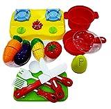 Toyshine 17 Pcs Kitchen Set Cum Vegetable Cutting Play Set, Realistic Sliceable Vegetables