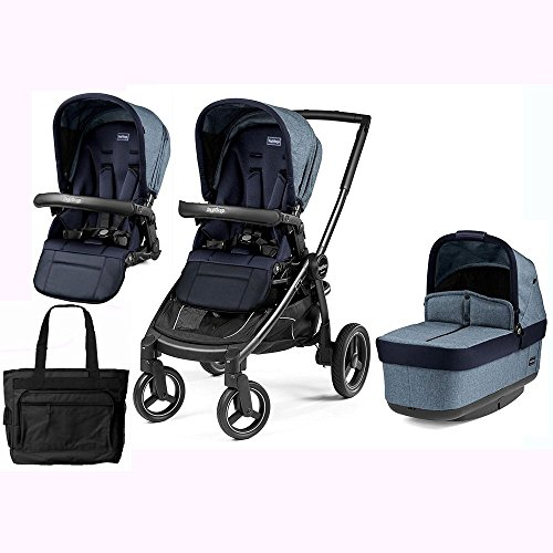 Peg Perego Team Stroller w/ 2nd Popup Seat and Diaper Bag - Horizon Team Pegs