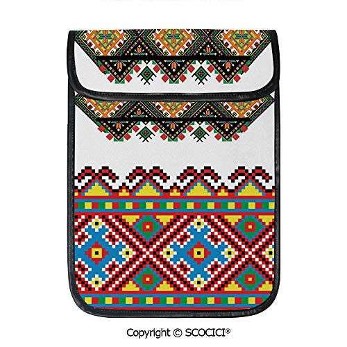 SCOCICI Simple Protective Retro Ukrainian Embroidery Ornament Traditional Cultural Folk Heritage Artful Design Pouch Bag Sleeve Case Cover for 12.9 inches Tablets