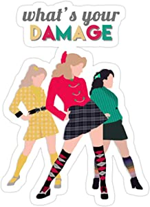 jackkenli (3 PCs/Pack) Whats Your Damage Heathers The Musical 3x4 Inch Die-Cut Stickers Decals for Laptop Window Car Bumper Helmet Water Bottle