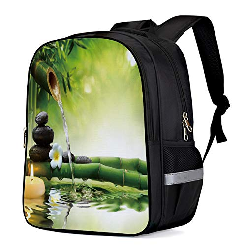 Durable Waterproof Kids Backpack Schoolbag, Anti-Theft Travel Camping Lightweight Student Notebook Backpack for Boys/Girls/Camping/Picnic, Bamboo Forest Water Stone Candle ()