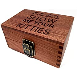 Show Me Your Kitties Wood Box Engraved with Metal Latch Stash Rolling Papers Wooden Decorative Boxes - Premium Quality Gift for Storage (Show Me Kitties)