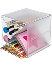 Deflecto 350201 Stackable Cube Organizer Cross Dividers, Desk and Craft Organizer, Clear, 6W x 6H x 6D