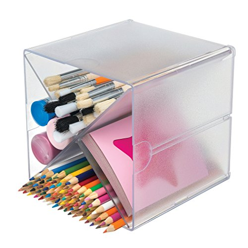 Deflecto Stackable Cube Organizers Cross Divider, Desk and Craft Organizer, Clear, Removable Dividers, 6''W x 6''H x 6''D (350201CR) by Deflecto