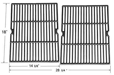 Hongso PCH502 Universal Matte Cast Iron Cooking Grid Replacement for Select Gas Grill Models by Ducane, Grill Chef and Others, Set of 2