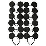 CLGIFT 12X Mickey Mouse Ears Solid Sequin Black Headband for Boys and Girls Birthday Party Celebration Event /DIY headband/