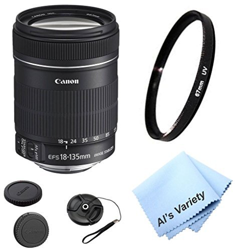 Canon EF-S 18-135mm f/3.5-5.6 Is Standard Zoom DSLR Lens Bundle Kit (White Box) With High Definition UV Filter + Al's Variety Premium Cleaning Cloth + Great Value Bundle
