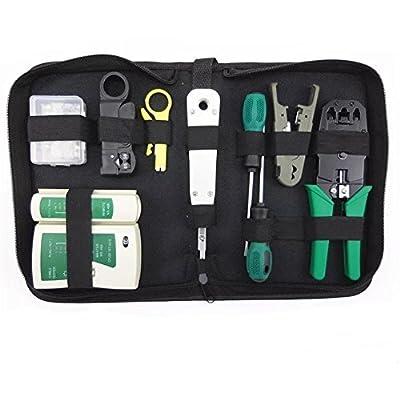 Network Cable Repair Maintenance Tool Kit Set 11 in 1 Portable Phone Cable Crimper 8P8C 4P4C 6P6C Connectors RJ45 RJ11 Cat5 Cat6 Cable Tester