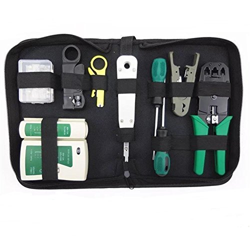 Cat5e Network Wiring - Network Cable Repair Maintenance Tool Kit Set 11 in 1 Portable Phone Cable Crimper 8P8C 4P4C 6P6C Connectors RJ45 RJ11 Cat5 Cat6 Cable Tester