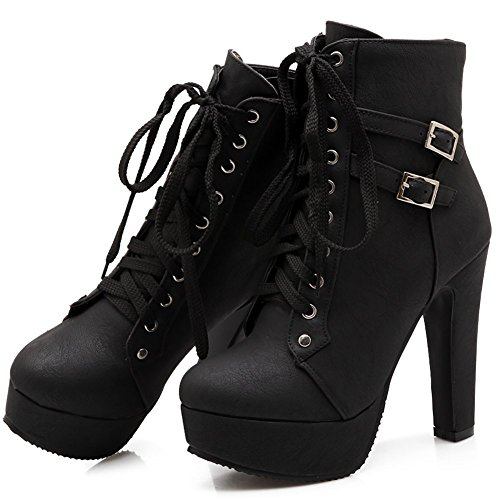Buckle toe Odema Blakc Martin Stiletto Lace Boots Ankle Heeled Up Pointed Women wqXqxgU1