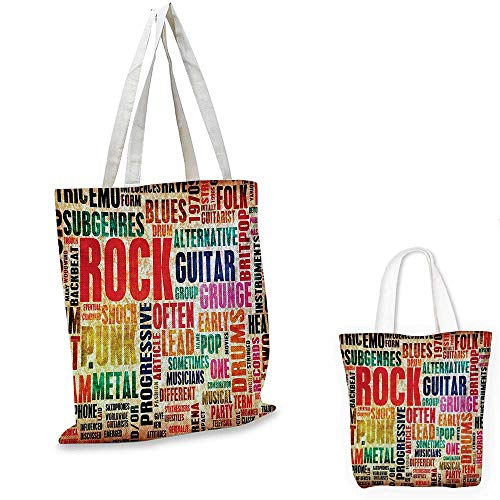 (Music non woven shopping bag Retro Rock and Roll Symbol Lettering Grunge Distressed Colors Back Then Sound Music Theme fruit shopping bag Multi. 12
