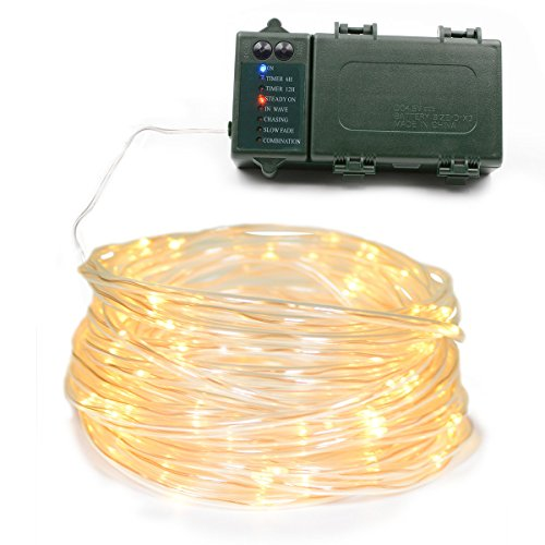 Lalapao Rope Lights 120 LED Battery Operated String Fairy Lights Christmas Lighting Decor Timer For Outdoor Indoor Garden Patio Lawn Decorations (Warm White)