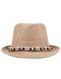 Roffatide Straw Trilby Fedora Hat Men Women Anti-UV Sun Beach Hat
