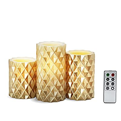 Set of 3 Geometric Wax Pillar Candles, Remote Included, Batteries Included