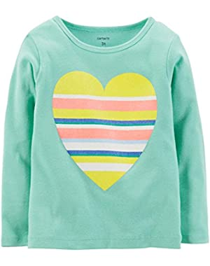 Baby Girls' Graphic Tee (Baby) - Striped Heart