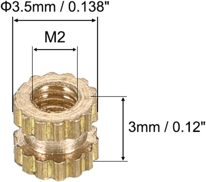 x 3.5mm L 50 Pcs OD uxcell Knurled Insert Nuts Female Thread Brass Embedment Assortment Kit M2 x 3mm