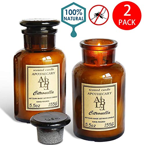 Apothecary Jar Candle - XYUT Set of 2 Citronella Candles Apothecary Collection Soy Wax Blend Candle in Glass Jar, 5.5 Ounce 。